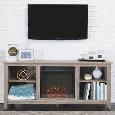 whitewash wood fireplace tv stand for tvs up to 65