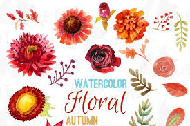 Free flower vector download in ai, svg, eps and cdr. Autumn Fowers And Leafs Clip Art Pack Watercolor Floral Clipart Autumn Flowers And Leafs Eps Png Jpg Svg Vector Files Included 101349 Illustrations Design Bundles