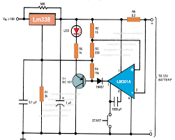 how to make an automatic 12 volt battery charger circuit using ic when the reff reduces the output of lm338 reduces and inhibit charging