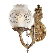 vintage etched glass wall sconce
