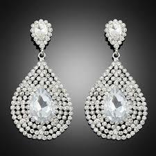 water drop large rhinestone round lady women wedding party earrings dress gift