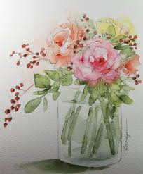 bouquet of roses original watercolor painting flowers