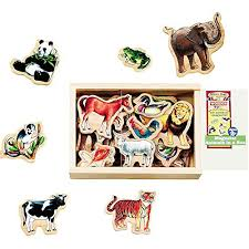 Melissa \u0026 Doug Wood Animal Magnet Set UPC 000772004756 | 20 Magnets in a Box