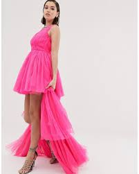 Neon Designer Dress Tulle Layered Maxi Dress In Neon Pink