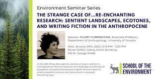 "U of T Environment on Twitter: ""Join us on Wednesday, Jan. 25th for our  upcoming #environmental seminar, where Professor Hilary Cunningham will be  speaking about her creative writing in relation to anthropocentric"
