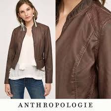 details about euc hei hei anthropologie dara vegan brown leather moto jacket sz s