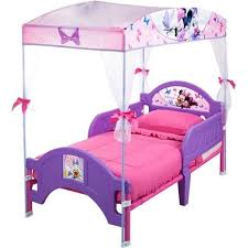 Disney Minnie Mouse Toddler Bed for Girls with Canopy, Pink and ...