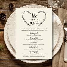 Kissing Menu Printable, Wedding Kissing Menu Template, Wedding ...