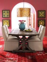 clean lines bohemian dining room great colors