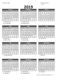 Weekly Calendar Free Print 2019 Yearly Business Calendar With Week Number Free