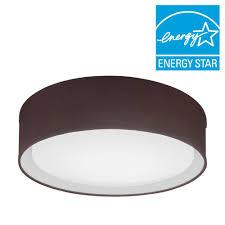 lithonia lighting aberdale 16 in chocolate brown led linen flushmount