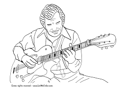 Double neck guitar world musical instruments coloring: Music Coloring Page Jazz Guitar Letmecolor