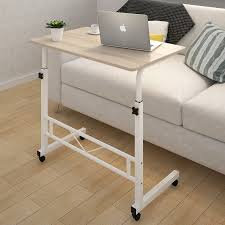 adjule portable sofa bed side table laptop desk with wheels white frame more