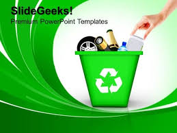 Green Recycle Bin Recycling Geographical Powerpoint