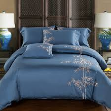 luxury embroidery sheets 4pcs 100 cotton sateen blue color bed linen with bamboo embroidered bedding