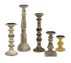 Amazon.com: Set of 5 Rustic Finish Distressed Wood Pillar Candle Holders:  Home & Kitchen