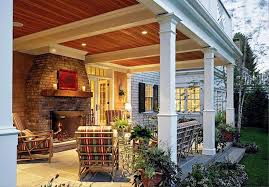 image of back porch with fireplace designs ideas