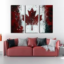 framed 3 piece rustic canada flag canvas painting wall art home decor  on 3 piece canvas wall art canada with framed 3 piece rustic canada flag canvas and 50 similar items