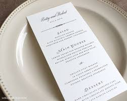Grove Park Classic Style Wedding Menu Cards Sample By