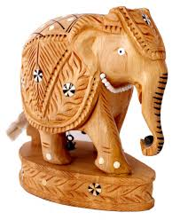 an amazing hand carved indian royal wooden elephant figurine inlay work sculpture statue