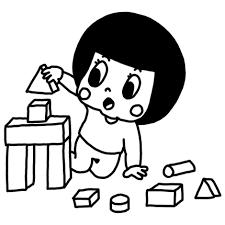積み木で遊ぶ子どものイラスト 白黒ヤギさん フリー素材イラスト