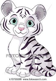 white tiger cubs drawing. Perfect Drawing Clip Art  White Tiger Cub Fotosearch Search Clipart Illustration  Posters Drawings Intended Tiger Cubs Drawing