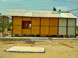 an office made of part bamboo fixtures and part recycled plastic is almost near pletion in a public park located near the kphb colony in atpally and