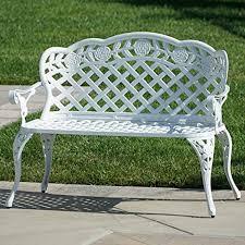white garden bench. Wonderful White Belleze Outdoor Garden Bench Antique Cast Aluminum Backyard Furniture Patio  Porch White Inside Amazoncom