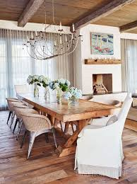 fresh and fabulous coastal chic dining room with rustic table