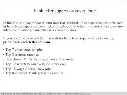 Bank Teller Supervisor Resume Choppix