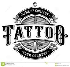 Vintage Tattoo Studio Emblem4 For White Background Stock