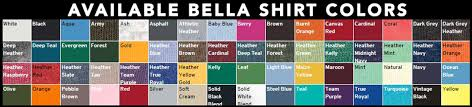 Bella Color Chart 44 Unique Shirt Color Chart