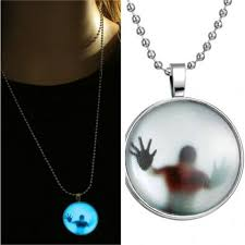 details about fashion glow in the dark necklace pendant stainless steel chain charm moonlight