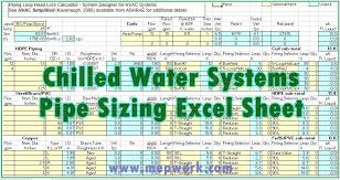 Domestic Water Pipe Sizing Chart Chilled Water System Pipe Sizing Excel Sheet