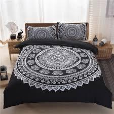 black mandala bedding set soft bedclothes bohemian print duvet cover set with pillowcases 3pcs home bed linen us uk queen king just bohemian style