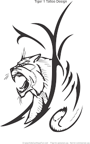 Tiger 1 Tattoo Design Coloring Page