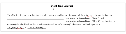 Music Contract Wedding Band Contract Template Wedding Dj Contract Download