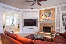 corner tv stand ikea family room transitional with brick fireplace surround ceiling