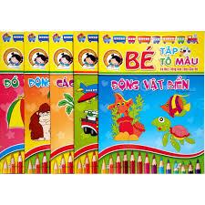 Sách - Combo 5 quyển Bé tập Tô màu và học Tiếng Anh theo chủ đề - khác tập