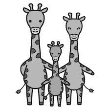 キリンモノクロ家族かわいい動物の無料イラスト素材 イラスト