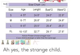 Back Size Chart In Age Lenght Size Waist 2 Bust 2 S 4 5t 240