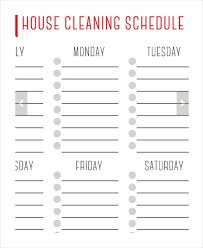 Weekly House Cleaning Chart House Cleaning Schedule 16 Free Word Pdf Psd Documents