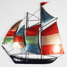 >metal wall art colour sailing ship yacht