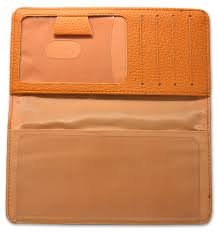 orange leather checkbook cover like this