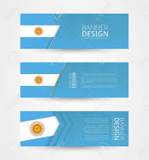 Argentina Banner Design Set Of Three Horizontal Banners With Flag Of Argentina Web Banner