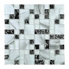 crushed ink white and black square glass mosaic tile jces3 loading zoom