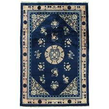 antique rug handmade oriental blue ivory peach navy rugs bedroom id f rug now blue oriental