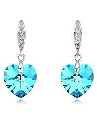 fansing mothers day gift drop dangle chandelier earrings for womens heart aurora crystal