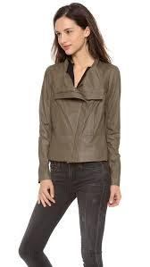 vince olive paper scuba asymmetric leather jacket size 1 l jackets item 22575636