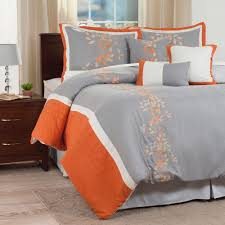 lavish home branches 7 piece orange embroidered queen comforter set 66 mf7pc q 005 the home depot
